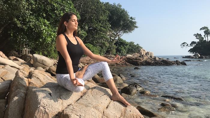ardha padmasana, yogini, meditation, seashore