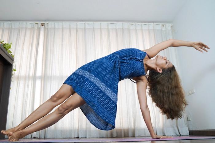 Vashishtasana, Side Plank, Blue Dress