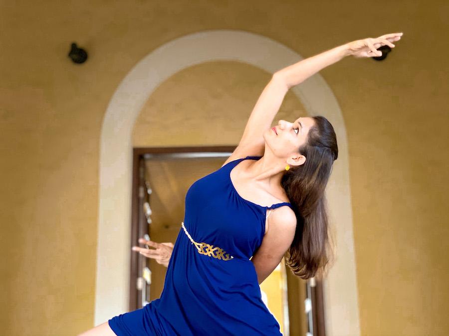 Reverse Warrior, Blue Dress, Blue Gold, yoga in a dress